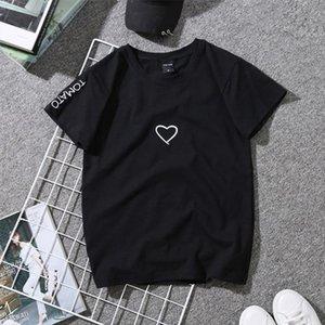 Women Love Heart Letter Print T Shirts Paar-Geliebte Stickerei-Hemd für Kurz Mädchen beiläufige bequeme Weiche weiße Spitzen Hemden