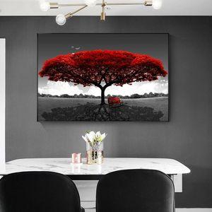 Nordic Red Tree Oil Painting Moda Abstract Poster and Prints minimalista Wall Art Retrato para Sala Quarto Cuadros Decoracion