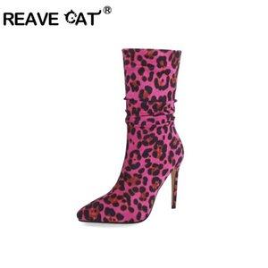botas Reave CAT otoño Slouchy mitad de la pantorrilla tire del dedo del pie acentuado 11cm tacones finos estiramiento del tamaño Tela Leopard Gran 34-46 S1984
