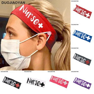 Botão enfermeira Elastic Leite Silk face Boca Máscara Headband Exercício Yoga Sports Cabeça Acessórios do cabelo da banda