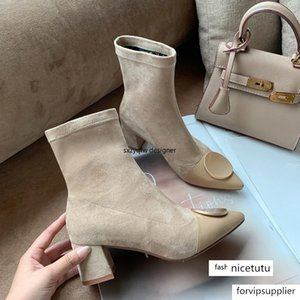 Suede Sock Metal Round Button Decor Pointed Toe Women Boots Heels Botas Slip on Ladies Shoes Square Heel Mujer Ankle Boots