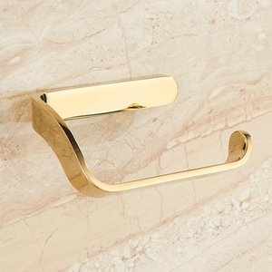 Gold toilet Paper Holder bathroom toilet roll paper holder Bathroom Accessories simple design one hand tear T200425