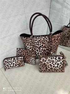 Kadınlar Tasarımcı Mektupları Çanta Totes Cüzdan Cüzdan Crossbody Çanta 4pcs / Paketi Leopard Baskı Omuz Çantaları El Çantası Wristlets Kılıfı Yeni D7308