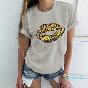 Tees Females Fashion Casual Tops Womens Lip Sunflower Print Tshirts Summer Designer Crew Neck Short Sleeve t09