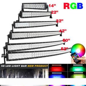 Kavisli Light Bar 4X4 Tekne Kamyon 120W 288W 300W Çalışma Lambanın Değiştirilmesi 5D RGB Led Projektör Bar Bluetooth App Kontrol 16 Milyon Renk