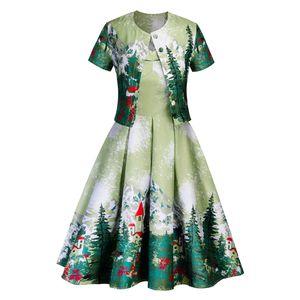 Womens Dois Natal Pieces Vestido Cardigan Casacos com a tecla verde vestidos de Outono-Inverno Ladies Casual 2PCS Conjuntos