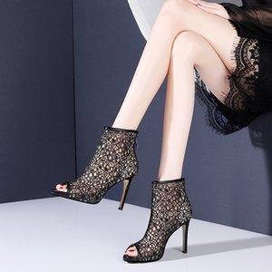 Yaz Yeni Seksi İnce Yüksek Topuklar Peep Toe Çiçekler Hollow Mesh Kadınlar Bilek Kısa Gladyatör Boots Bayan Sandalet 20200619