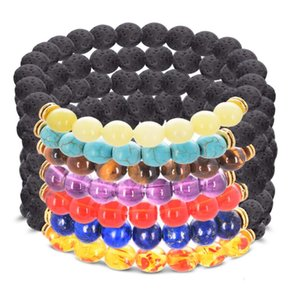 DHL epacket Men and women 8MM volcanic stone bead bracelet colorful chakra energy yoga bead bracelet DJFB31 Beaded Strands jewelry bracelets