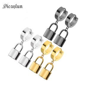 DICAYLUN Stainless Steel Lock Earrings Padlock Pendant Gold Dangle Loop Drop Earrings Men Women Gifts Jewelry Punk High Quality