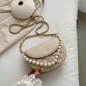 Fashion Lila Perlen-Ketten-Schulter-Beutel-Sattel-Beutel-Luxus-Handtaschen-Frauen-Beutel Designer SAC einen Haupt Umhängetasche für Frauen