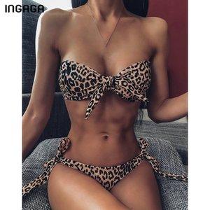 INGAGA 2020 Bandeau Bikinis 2020 Swimsuits Leopard Swimwear Women Summer Brazilian Bikini Set High Cut Biquini Bathing Suits T200713