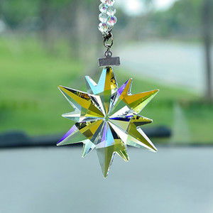 Crystal Snowflake Car Pendant Auto Rearview Mirror Suspension Car Hanging Accessory For Girls Christmas Gifts Elegant Decor