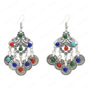 New Bohemia Style with Coin Pendant Earrings Women Color Acrylic Fishhook Earrings Wild European and American Earrings
