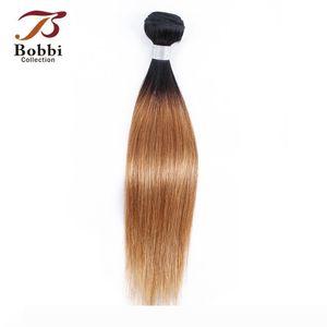 Brazilian Virgin Hair Weave Bundles Straight Ombre Honey Blonde Color 1B 27 Two Tone 1 Bundle 10-24 inch Remy Human Hair Extensions