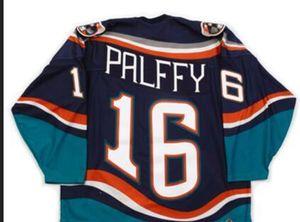 Men # 16 Ziggy Palffy 1997-1998 Fishsticks New York Islanders Pescatore rara maglia azzurra Lettera della squadra o custom qualsiasi nome o il numero retrò Jersey