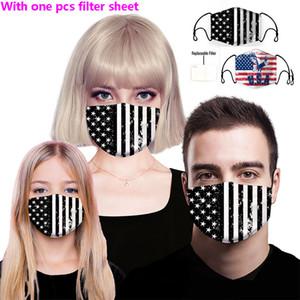 Rosto de luxo Designer máscara máscaras de pano Anti pó com filtro PM2.5 substituível Cotton lavável reutilizáveis Máscaras Bandeira Padrão Boca Máscara WX20-44