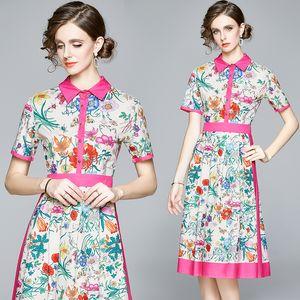 Floral High-end Women Dress Short Sleeve Summer Midi Dress Fashion Elegant Lady Dress