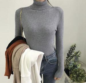 Womens pulôver gola com nervuras Malhas Mulher cor sólida Grosso Outono Inverno camisola de manga longa Mulheres Altas de forma magro Camisolas