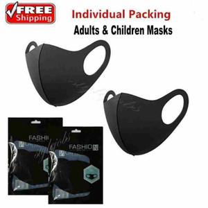 Дизайнер мода моющиеся защитные лица маски черный хлопок многоразовые взрослые дети анти пыль велосипедные рта маска детские ткани маски fy9041