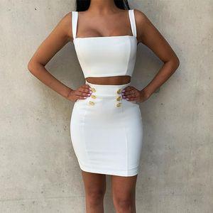 Ocstrade verano de 2 pedazos del vestido del vendaje 2020 Nueva Airrival mujeres rayón blanco vendaje Vestido ajustado atractivo del mini traje de dos piezas