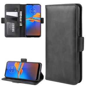 Para MOTO E6 mais o dobro Buckle Crazy Horse Negócios Mobile Phone Holster com função de cartão da carteira Bracket