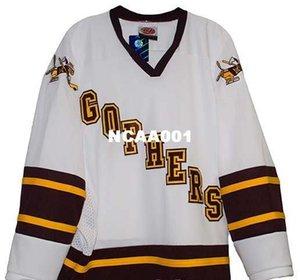 Gerçek özel herhangi bir ad veya numara hokey Jersey Erkekler Full nakış Minnesota Gophers Beyaz Hokeyi Jersey% 100 Nakış Jersey