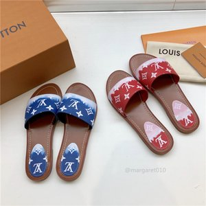 Louis Vuitton LV Women ESCALE LOCK IT FLAT MULE Slippers Designer Sandals Fashion Paint Monogram Canvas Casual Shoes Top Quality Outdoor Beach