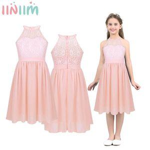 iiniim Kids Girls Wedding Vestidos Dress Lace Chiffon Halter Neck Flower Dress Princess Dresses Formal Communion Prom Clothing