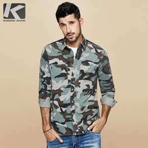 KUEGOU 2020 Automne Coton Camouflage Shirt Hommes Casual Slim Robe à manches longues Homme Fashion Brand Chemisier 6112