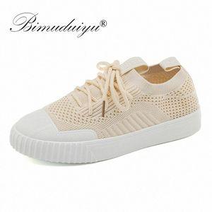 BIMUDUIYU женщины Квартиры леди обувь дышащих кроссовки Мода Mesh Ткачество носки Повседневной обувь Flat Soft Student кроссовки Skechers peMY #