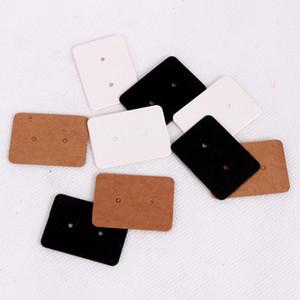 500PCS 2.5x3.5cm فارغ ورق كرافت حلق بطاقات شنق العلامة عرض مجوهرات الأذن بطاقات مسمار صالح تسمية العلامة أبيض أسود اللون البني