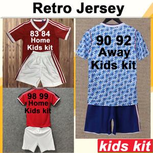90 98 CANTONA GIGGS KEANE Kids Kit Soccer Jerseys KANCHELSKIS HUGHES INCE Home Red Away Football Shirt Child Short Sleeve Uniforms