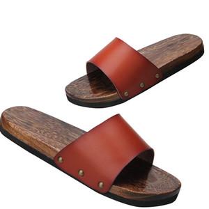Disfraces WHOHOLL Geta Anime Cosplay japonesa Geta sandalias de verano sandalias planas de los hombres zapatos de madera de los deslizadores de los balanceos