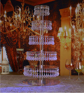 7 Tiers Crystal transparent wedding crystal acrylic Cake Stand Round cake display cupcake holder with bead strands wedding decorations