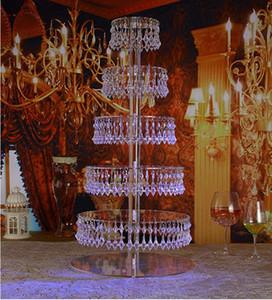 7 Niveles Crystal boda transparente torta de cristales de acrílico soporte redondo titular magdalena visualización de la torta con decoraciones de la boda del talón hebras