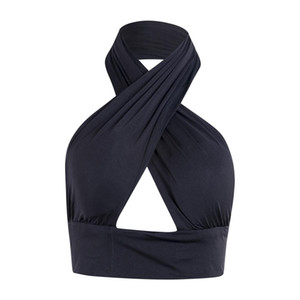 Женщины Strappy Cross Over Front Cut Out Холтер шеи без рукавов Backless Crop Top бинты Vest Summer Sexy Топы женской одежды S-XL