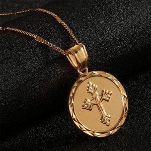 24K Gold Color Catholic Round Medal Jesus Cross Jewelry Christ Crucifix Pendant Necklace