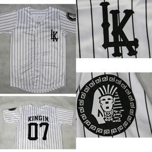 LA LAST KINGS KINGIN 야구 저지 더블 스티치 화이트 배송 높은 품질의 야구 유니폼