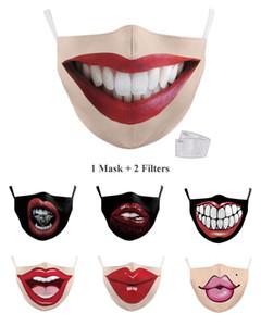Venda quente reutilizável 3D Printing lábio máscaras Mouth máscara engraçada Dustproof Máscara boca sexy partido lavável Máscara Facial