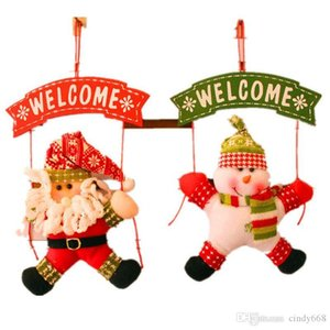 1pcs Outdoor Santa Claus Snowman Welcome Hanging Decor for Xmas Tree Door Decor Pendant for Merry Christmas Home Decoration navidad natal