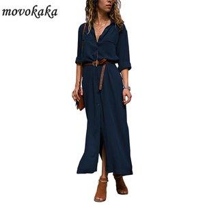 Pulsante MOVOKAKA New Blue elegante vestito casuale manicotto lungo delle donne vestito lungo più i vestiti da donna Office Party donna pro