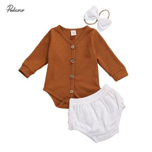 Newborn Infant Baby Girls Autumn Spring Long Sleeve Romper PP Shorts Headband 3Pcs Set Solid Outfits 0-24M