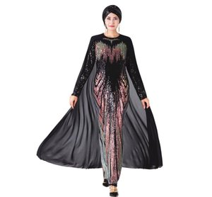 Casual Dresses Muslim Party Dress With Cape Women High Quality Abaya Sequin Embroidery Hijab Long Sleeve Dubai Caftan Robe Islamic