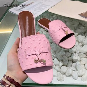 Metal Lock Decor Women Slipper Shoe Real Leather Tassel Fringe Solid Color Open Toe 2020 Summer Mules Flat Comfortable Slides Y200624