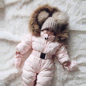 salopette bébé d'hiver 2019 salopette chaud du nouveau-né hiver Barboteuses pour les filles Conçu pour le bébé russe snowsuit à capuche # G2 WWm0 #