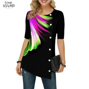 3D Feather Printed T Shirts Womens Short Sleeve New Summer Shirt Tees Sizes 5Xl Ladies Top Buttons Short Sleeve 3D Tshirt