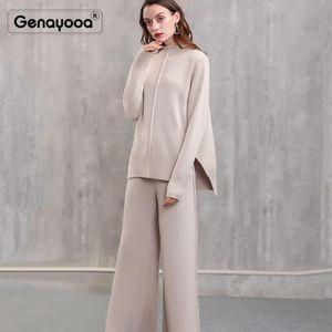 Genayooa Qualitäts-Kaschmir Anzug Frauen-Winter-Zweiteiler Hose 2 Stück-Satz-Frauen-Strickjacke + Hosen Büro-Dame Korean