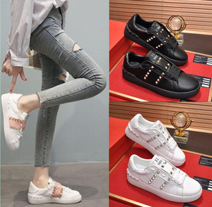 Classic Trend High Quality Fashion Men Women Girl Hot 2020 New Genuine Leather Classic Rivet Platform Sneakers Casual Shoes