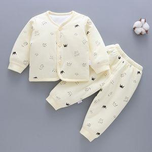 GAtxK Newborn infant new cotton Warm Under cotton-padded clothes thickened thermal underwear set baby winter cotton-padded clothes children'