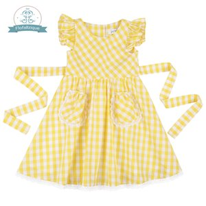 Flofallzique Plaid Cotton With Two Pockets Kid Clothes Spring and Autumn Outdoor Casual Toddler Baby Girl Dress 1-10Y T200713
